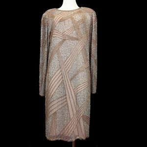 Vintage 80s Oleg Cassini Beaded Nude Silk Dress